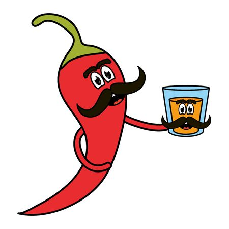 chilli pepper with tequila cup comic character vector illustration design