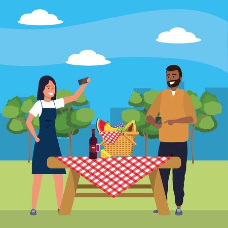 Millennial couple date selfie nature background
