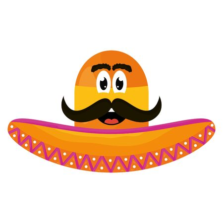 mexican hat with mustache emoji character