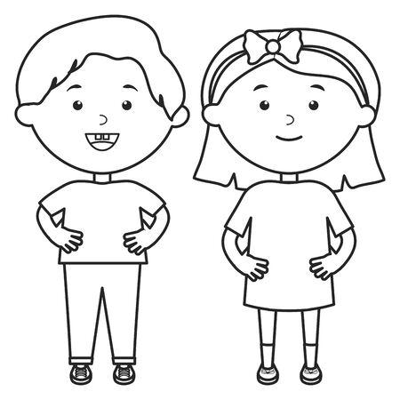 personnages mignons de couple de petits enfants Vecteurs