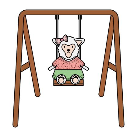 cute female sheep in swing 矢量图像