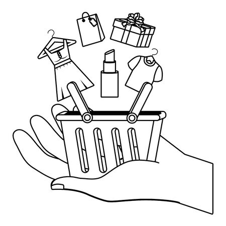 Basket design, Store shopping online ecommerce media market and internet theme Vector illustration Ilustração