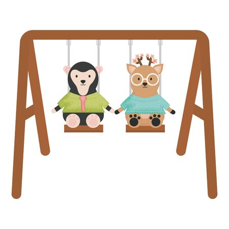 cute female monkey with reindeer in swing vector illustration design 矢量图像