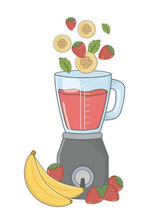 delicious healthy fruits mix smoothie inside blender cartoon vector illustration graphic design Illustration