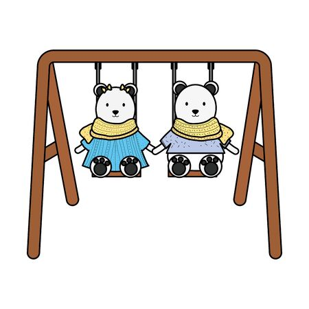 cute polar bears couple in swing 矢量图像