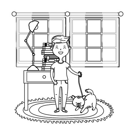 childhood happy child boy with little animal pet inside room with furniture cartoon vector illustration graphic design
