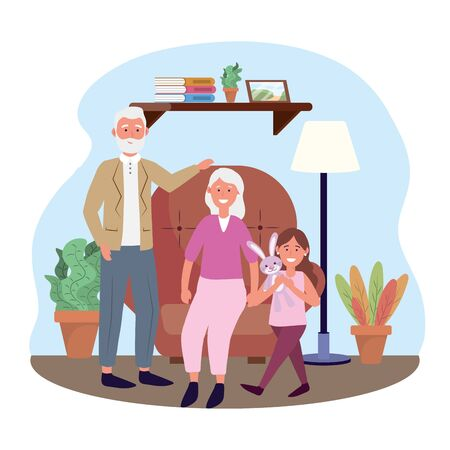 old woman and man with girl and plants