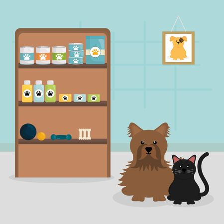 cute little dog and cat in veterinary Ilustração