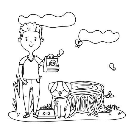 childhood happy child boy with little animal pet at outdoor scene cartoon vector illustration graphic design Vector Illustration