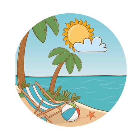 beach with chair beach ball starfish cartoon round label summer and travel vector illustration editable design
