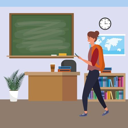 Millennial student brunette woman wearing backpack using smartphone indoors classroom background with blackboard map clock and bookstand vector illustration graphic design