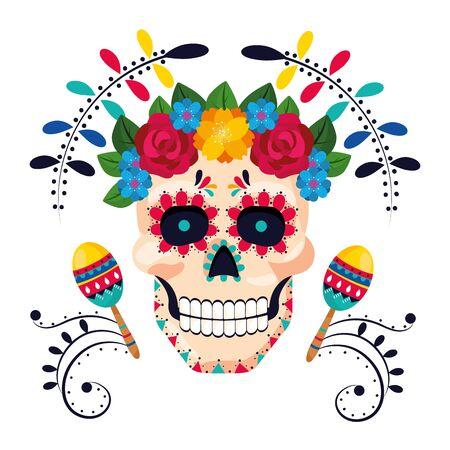 mexican culture festival day of dead skull cartoon vector illustration graphic design