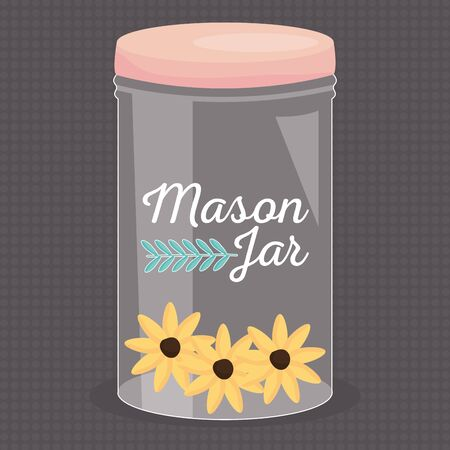 mason jar glass with lid and flowers Illustration