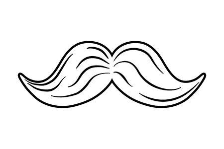 Schnurrbart-Symbol Cartoon schwarz und weiß Vektorgrafik