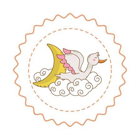 Baby shower round label stamp with cartoons Standard-Bild - 127796943