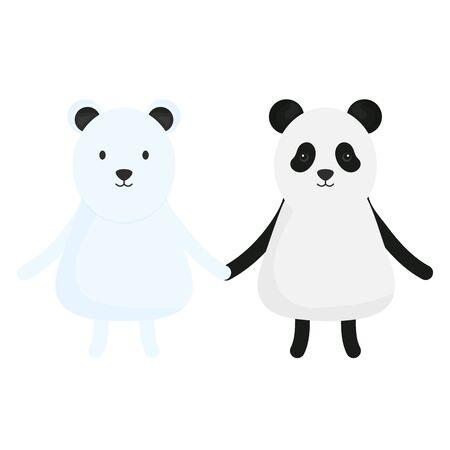 cute bears panda and polar Illustration