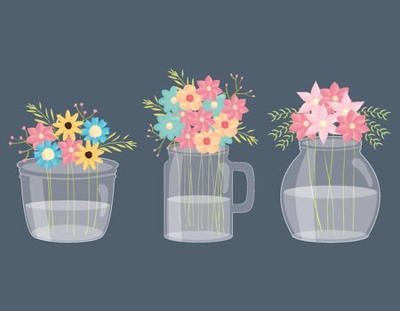 set of mason jars with floral decoration