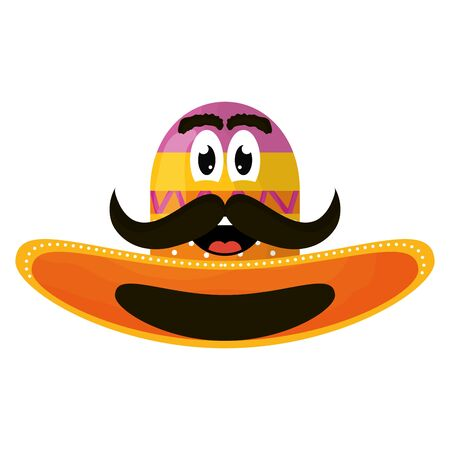 mexican hat with mustache emoji character vector illustration design