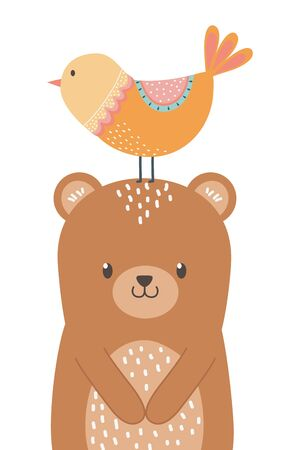 Bear and bird cartoon design
