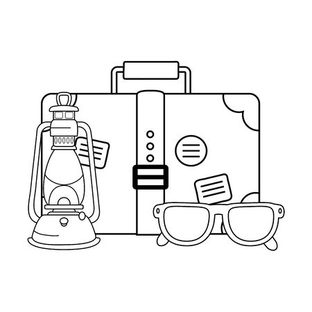 suitcase travel with eyeglasses and camping icon 일러스트