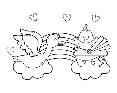 cute baby shower cartoon Standard-Bild - 127785601