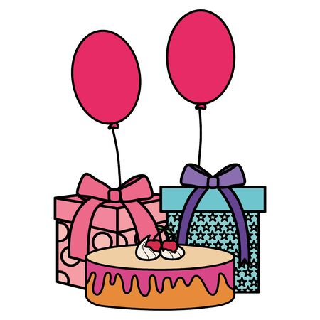 gift box with sweet cake and balloons helium floating