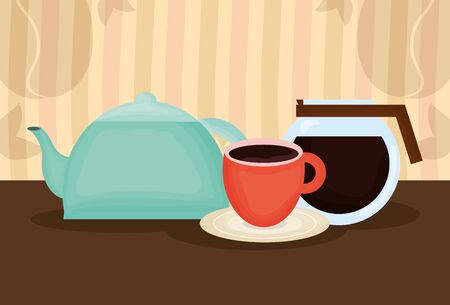 delicious coffee and tea time icons vector illustration design