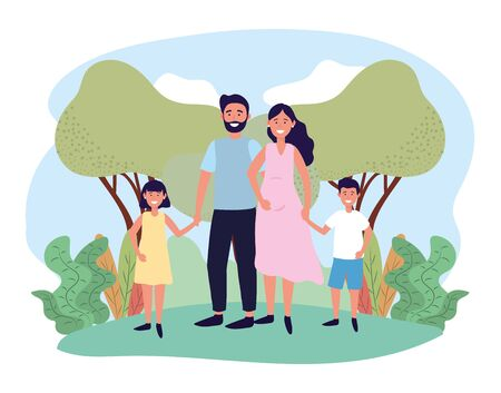 cute man and woman couple with their kids