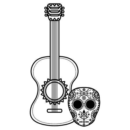 mexican skull death mask with guitar