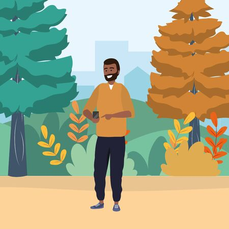 Millennial using smartphone browsing nature background