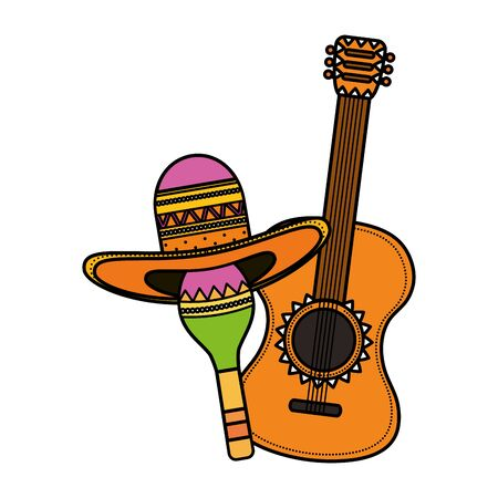 maraca with mexican hat and guitar vector illustration design Vectores