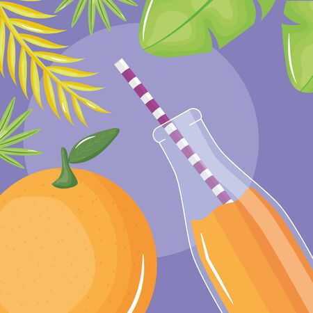 fresh orange juice fruit in botttle with straw in leafs palms vector illustration design Ilustrace