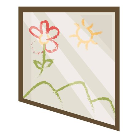 square picture with cute landscape painted vector illustration design