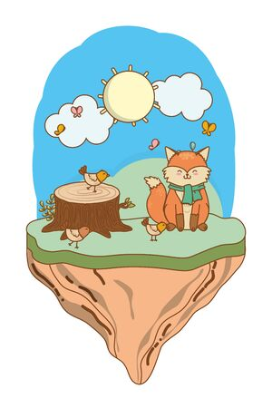 cute littles animals at nature environment cartoon vector illustration graphic design