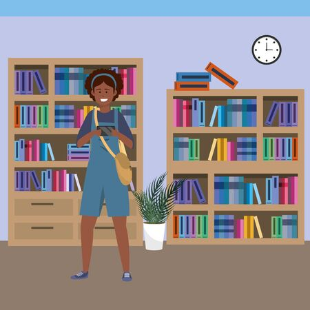 Millennial student afro woman wearing overalls using smartphone taing selfie on library background colorful bookstand vector illustration graphic design