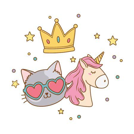 cat wit sunglasses unicorn and crown icon cartoon vector illustration graphic design