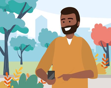 Millennial young person using smartphone browsing social media browsing texting beard afro sweater portrait nature background park trees vector illustration graphic design