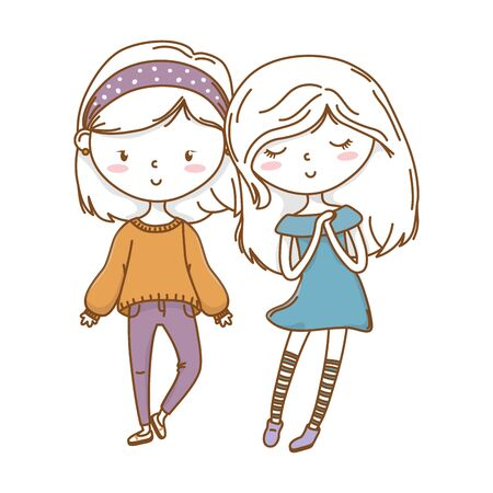 Cute couple girls friends beautiful hairstyle outfit bandana sweater dress hopeful vector illustration graphic design