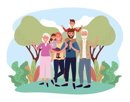 cute man and woman with their kids and parents vector illustration