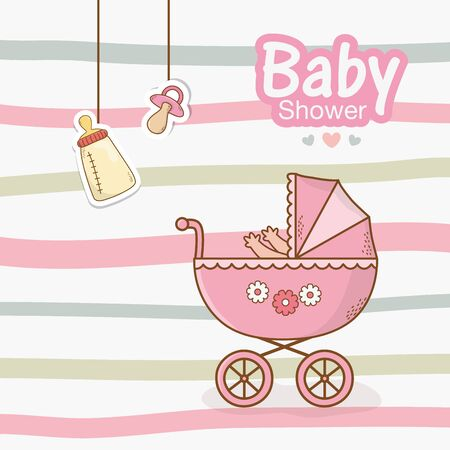 baby shower card with pink cart