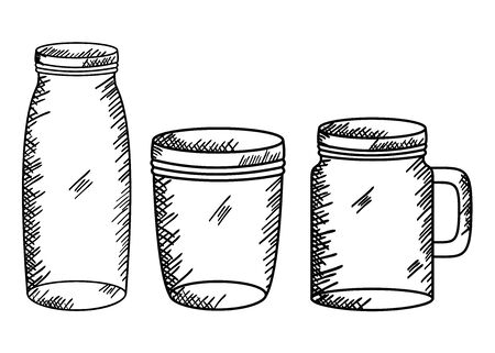 set of jars drawing art