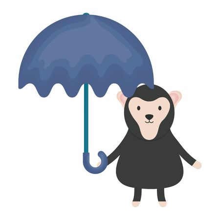 cute monkey with umbrella childish character vector illustration design Vectores