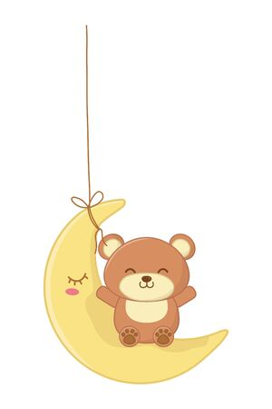toy bear sitting on the moon hanging vector illustration graphic design