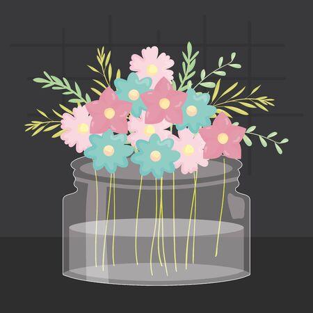 mason jar glass with floral decoration vector illustration design Иллюстрация