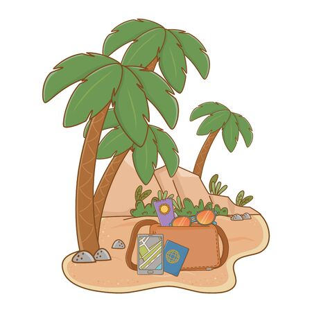 landscape beach with suitcase and travel item