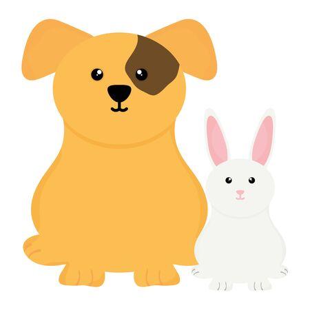 cute little rabbit with dog Illustration