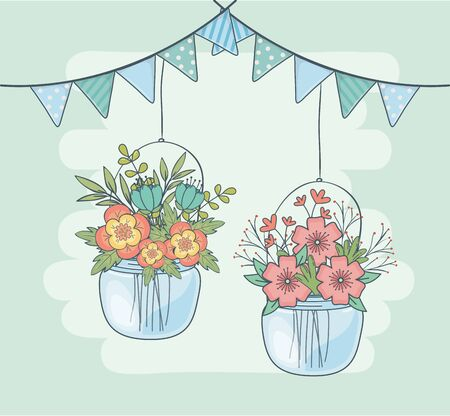 jars with flower hanging in garlands
