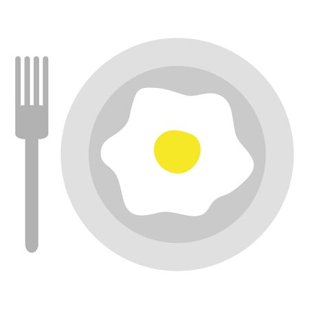 dish and fork with egg fried