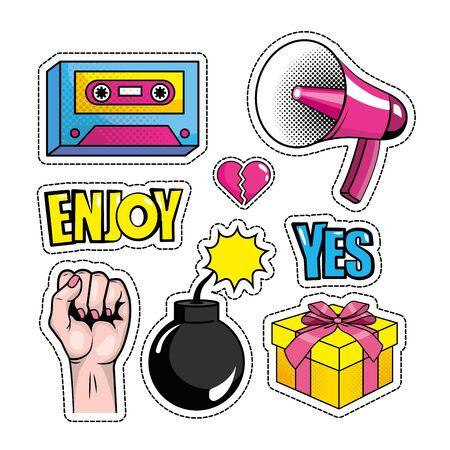 set pop art message and creative design vector illustration