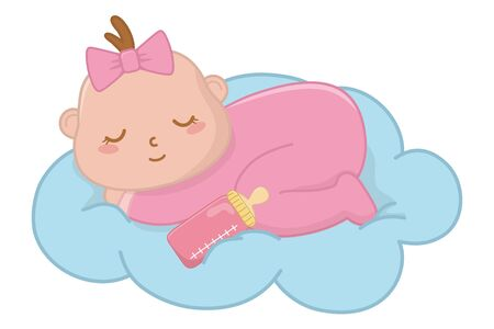 baby sleeping on a cloud with a bow icon cartoon vector illustration graphic design